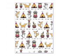 Affiche encadrée enfant 30x40cm motifs indiens Multicolore