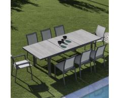 Table de jardin extensible grise en céramique (6 à 10 places) Gris