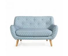 Canapé 2 places fixe esprit scandinave à motifs