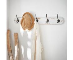 Patère en bois vieilli blanc 5 crochets Blanc