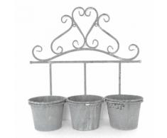 Triple porte-plante rond en métal gris à suspendre Gris