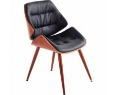 Chaise rétro capitonnée en simili cuir Noir