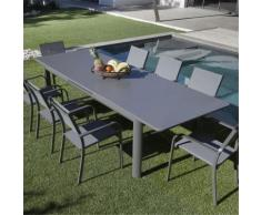 Table de jardin extensible grise en verre texturé (6 à 10 places) Gris
