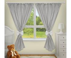 Rideaux décoratifs de luxe pour chambre de bébé assortis avec nos parures de lit denfant (rayures grises)
