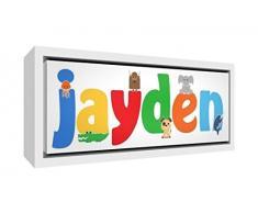 Little Helper Napperon avec Coaster Style Illustratif Coloré avec le Nom de Jeune Garçon Kylian