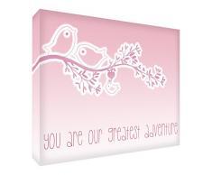 Feel Good Art Galerie enveloppé de Chambre avec panneau avant massif en toile Cute Illustration Design (20 x 30 x 4 cm, petit, bébé rose)