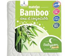 Babysom - Matelas Bébé Bamboo - 70 x 140cm - Epaisseur 14cm - Déhoussable - Sans traitement Chimique - Garantie 10ans
