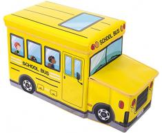 Bieco Boîte de Rangement Autobus Scolaire pour Enfants avec Siège Rembourré | Coffret à Jouets Unisexe avec Couvercle | Coffre Pliable Jaune | Boîte de Rangement Pliable de 46 L | Ref. 04000506
