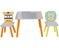 Bieco 74004809 Siège enfant Groupe avec table et 2 chaises Motif safari, multicolore