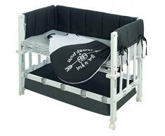 roba Berceau Babysitter 3 en 1 de la collection Rock Star Baby 3, utilisable comme cododo, petit lit et banc, bois laqué en blanc;inclus en livraison sont un matelas, le tour de lit