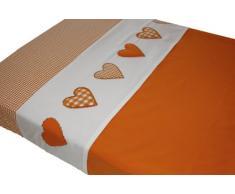 Taftan Drap de Lit Coeur patchwork orange (100 x 80 cm) - Orange
