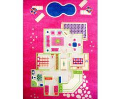 Little Helper IVI Tapis de Jeu pour Enfants Epais en 3D Design Maison en Été Colorée avec Pièces en 3 Dimensions Multicolore avec Eau Turquoise 100 x 200 cm