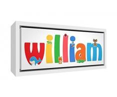 Little Helper Napperon avec Coaster Style Illustratif Coloré avec le Nom de Jeune Garçon Leon
