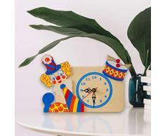 Dida - Horloge de Table en Bois Enfant – Clown – Horloge Murale et de Table pour la Chambre des Enfants