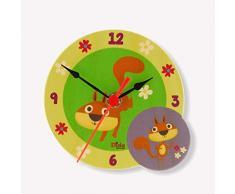 Dida - Horloge de Table en Bois Enfant – écureuils – Horloge Murale et de Table pour la Chambre des Enfants avec Les Animaux de la forêt