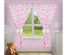 Superbes rideaux décoratifs pour chambre de bébé assortis avec nos parures de lit pour chambre denfant (Grandes étoiles roses sur fond blanc)