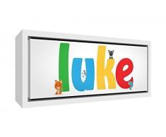 Little Helper Napperon avec Coaster Style Illustratif Coloré avec le Nom de Jeune Garçon Gaspard