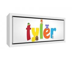 Little Helper Napperon avec Coaster Style Illustratif Coloré avec le Nom de Jeune Garçon Nicolas