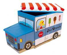 Bieco Boîte de Rangement Camion à Glace pour Enfants avec Siège Rembourré | Coffret à Jouets Unisexe avec Couvercle | Coffre Pliable Bleu & Blanc | Boîte de Rangement Pliable de 47 L | Ref. 04000510
