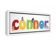 Little Helper Napperon avec Coaster Style Illustratif Coloré avec le Nom de Jeune Garçon Théo