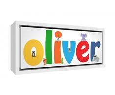Little Helper Napperon avec Coaster Style Illustratif Coloré avec le Nom de Jeune Garçon Kais