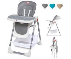 Lionelo Linn Plus chaise haute bébé chaise haute enfant à partir de 6 mois chaise haute jusquà 15 kg chaise haute chargeable bébé avec fonction couchage nombreux accessoires (Gris)