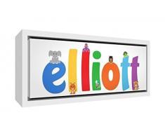 Little Helper Napperon avec Coaster Style Illustratif Coloré avec le Nom de Jeune Garçon Clement