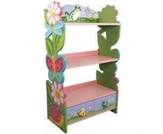 Meuble bibliothèque étagère 1 tiroir rangement livre jouet enfant bois W-7500A