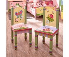 2 chaises enfant Magic Garden bois chambre fille bébé (sans table) W-7484A/2
