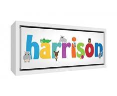 Little Helper Napperon avec Coaster Style Illustratif Coloré avec le Nom de Jeune Garçon Mohamed