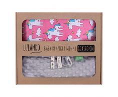 LULANDO Couverture MINKY 80x100 cm, couette, couverture pour poussette, réversible, pour journées fraîches, 100 % coton, anti-allergique, certificat Oeko-Tex, Couleur: Gris - Licorne rose