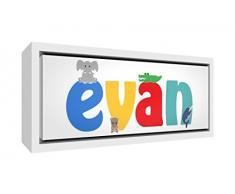 Little Helper Napperon avec Coaster Style Illustratif Coloré avec le Nom de Jeune Garçon Yanis