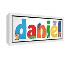 Little Helper Napperon avec Coaster Style Illustratif Coloré avec le Nom de Jeune Garçon Gabinmaël