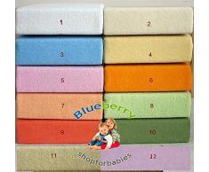 Blueberryshop Chambre denfant bébé en tissu éponge Drap-housse pour berceau, couffin et berceau, 90 cm de longueur x largeur de 40 cm, Orange