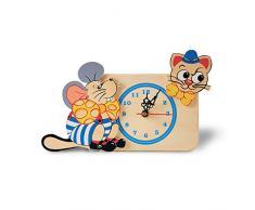 Dida - Horloge de Table en Bois Enfant – Chat Souris – Horloge Murale et de Table pour la Chambre des Enfants
