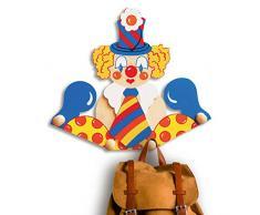 Dida - Porte-Manteaux Enfant – Clown avec Cravate - Porte Manteau Mural en Bois pour Chambres denfant et bébé