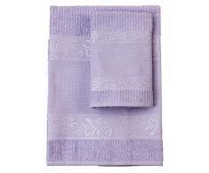 Filet - Set de serviettes avec invité 100% éponge de coton teinte unie avec insert en toile Aïda à broder - Lilas