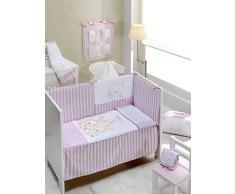 Interbaby 91526–02 Lot de 3 Pièces : Couette, Tour de lit et oreiller pour grand lit enfant mod Lapin Baby Rose 70 x 140 cm