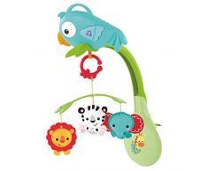 Fisher-Price Animaux de la forêt 3-en-1 Mobile Musical pour lit bébé, jouet transportable et oiseau détachable, dès la Naissance, CHR11