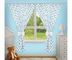 Superbes rideaux décoratifs pour chambre de bébé assortis avec nos parures de lit pour chambre denfant (Grandes étoiles turquoises sur fond blanc)