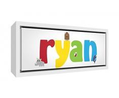 Little Helper Napperon avec Coaster Style Illustratif Coloré avec le Nom de Jeune Garçon Thibault