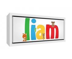 Little Helper Napperon avec Coaster Style Illustratif Coloré avec le Nom de Jeune Garçon Benjamin