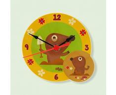 Dida - Horloge de Table en Bois Enfant – Moles – Horloge Murale et de Table pour la Chambre des Enfants avec Les Animaux de la forêt