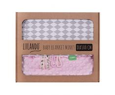 LULANDO Couverture MINKY 80x100 cm, couette, couverture pour poussette, réversible, pour journées fraîches, 100 % coton, anti-allergique, certificat Oeko-Tex, Couleur: Rose - Diamant gris