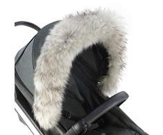 For-Your-Little-One Chariot pour poussette en fourrure Gris clair