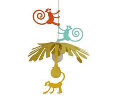 R&M Coudert Lampe de Plafond Suspension Chambre Enfant Singes Orange Jaune et Bleu Lagon