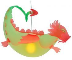 R&M Coudert Lampe de Plafond Suspension Chambre Enfant Dragon Vert et Rouge