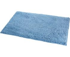 AmazonBasics Tapis de bain antidérapant à poils longs en microfibre, 0,53 x 0,86 m, Bleu lac