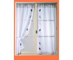 HomeMaison 22752 Vitrage/Paire Droite Étamine Feuilles Appliquées et Brodées Polyester Blanc/Gris 0,2 x 060 x 160 cm