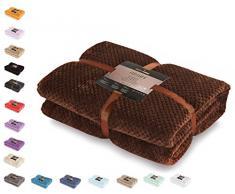 DecoKing Couette en Microfibre Couverture Polaire Plaid Couvre-lit Polaire Doux de Style scandinave Henry, Microfibre Marron Chocolat 170x210 cm
